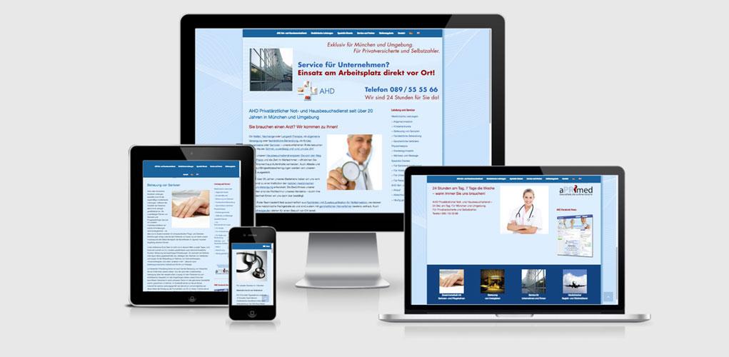 Beispiel für Praxismarketing für Ärzte und Arztpraxen,  AHD Privatärztlicher Not- und Hausbesuchsdienst seit über 20 Jahren in München und Umgebung
