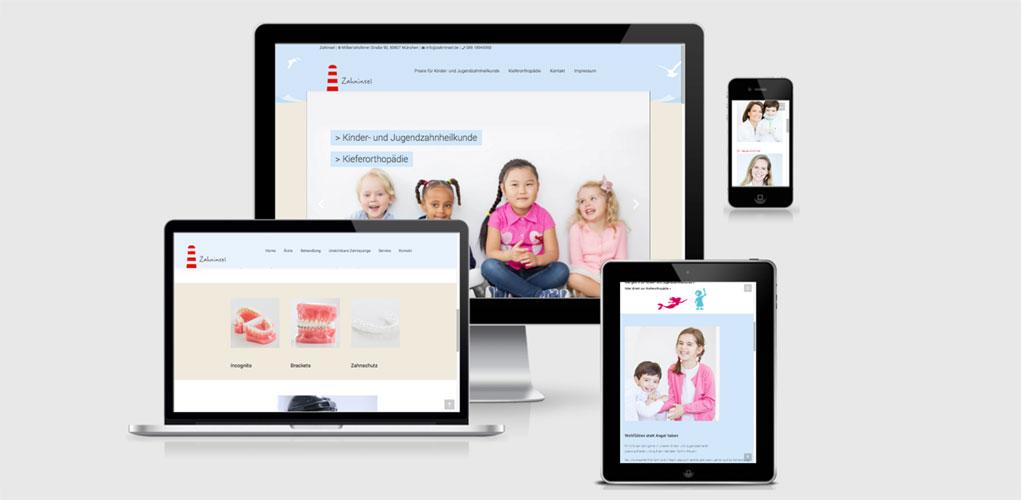 Beispiel für Praxismarketing für Ärzte und Arztpraxen, Die Zahninsel Praxis für Kinder- und Jugendzahnheilkunde im Münchner Norden