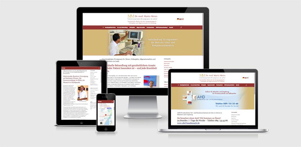 Beispiel für Praxismarketing für Ärzte und Arztpraxen,  Interdisziplinäre Privatpraxis Dr. Motzo: Orthopädie, Allgemeinmedizin und Innere Medizin im Lehel